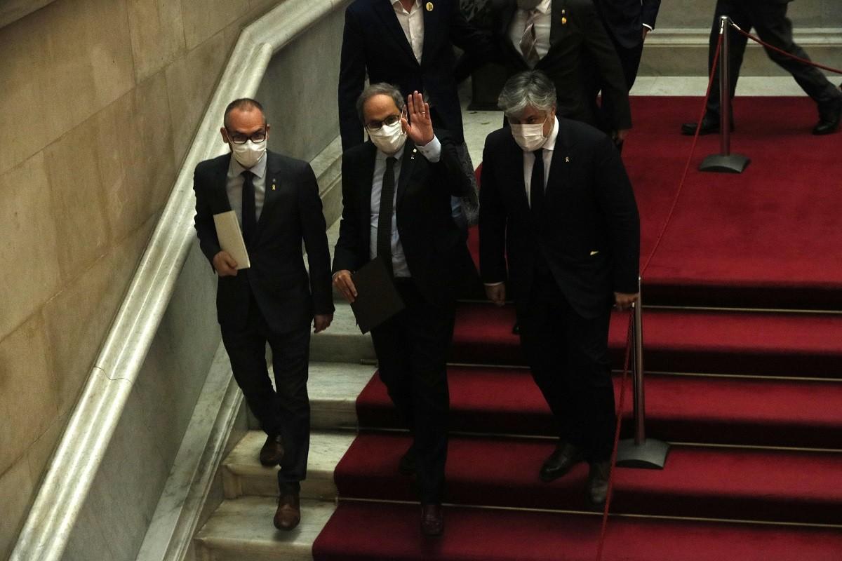 Quim Torra s'acomiada al Parlament, després del discurs a l'hemicicle