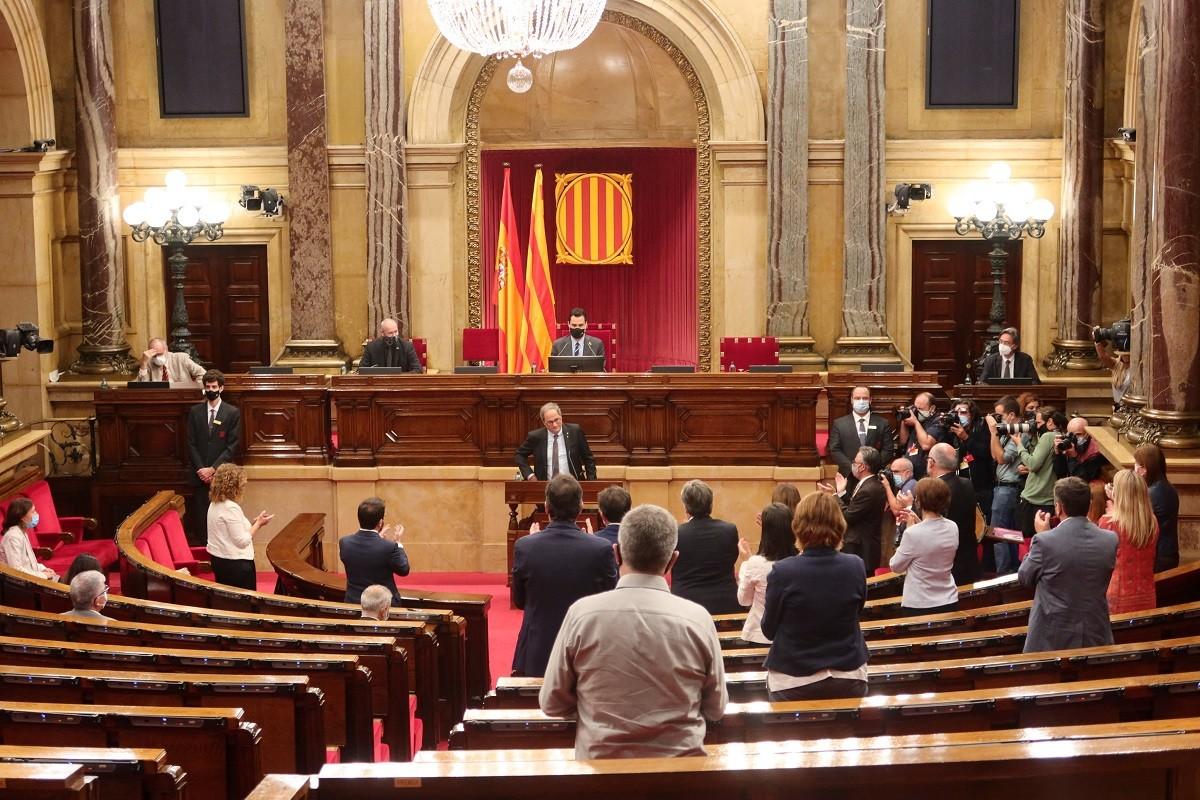 Quim Torra, dimecres en la seva darrera intervenció al Parlament