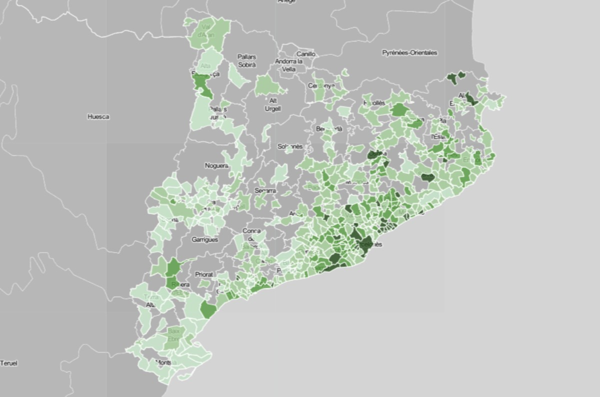 Mapa municipal de Catalunya, en funció de la renda mitjana.