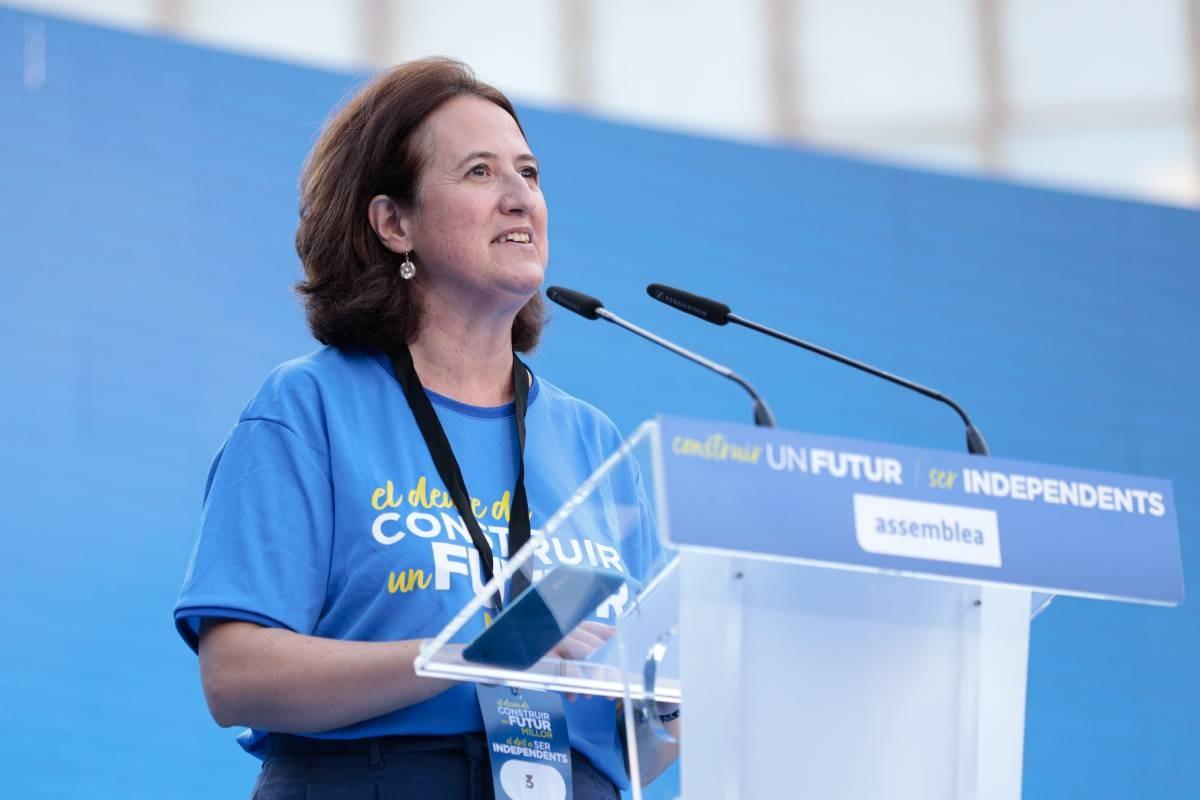 Elisenda Paluzie, presidenta de l'ANC, durant l'acte de la Diada.