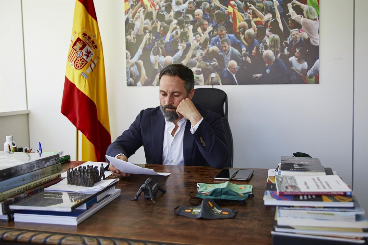El líder de Vox, Santiago Abascal, al despatx.