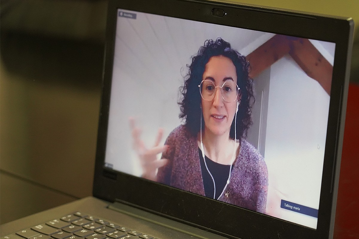 Marta Rovira, durant l'entrevista telemàtica amb NacióDigital.