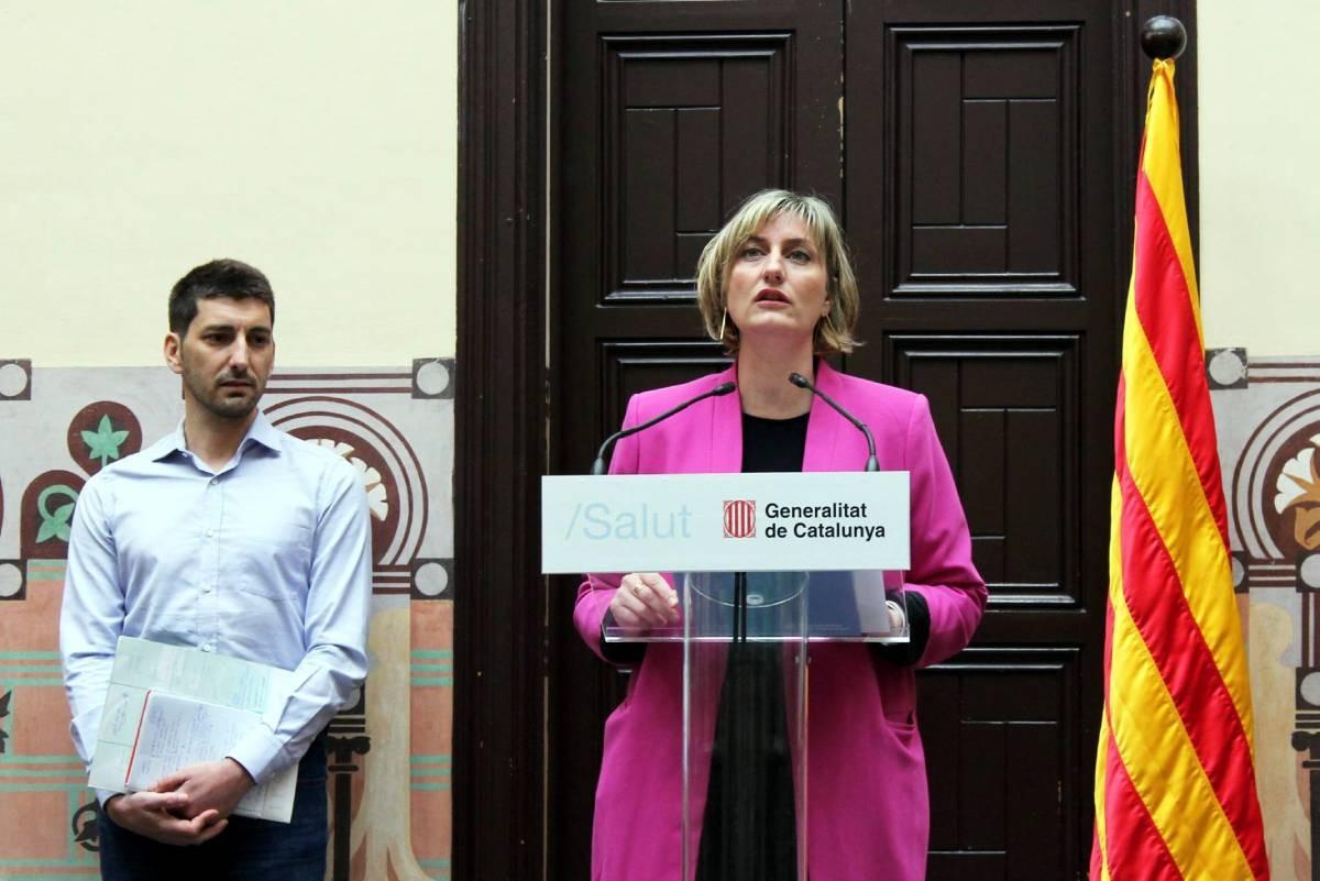Oriol Mitjà i Alba Vergés, en una roda de premsa conjunta.