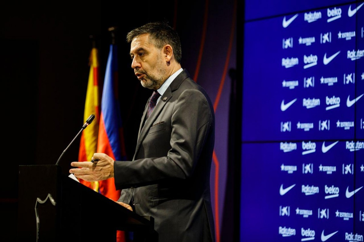 Bartomeu, durant el seu comiat del Barça