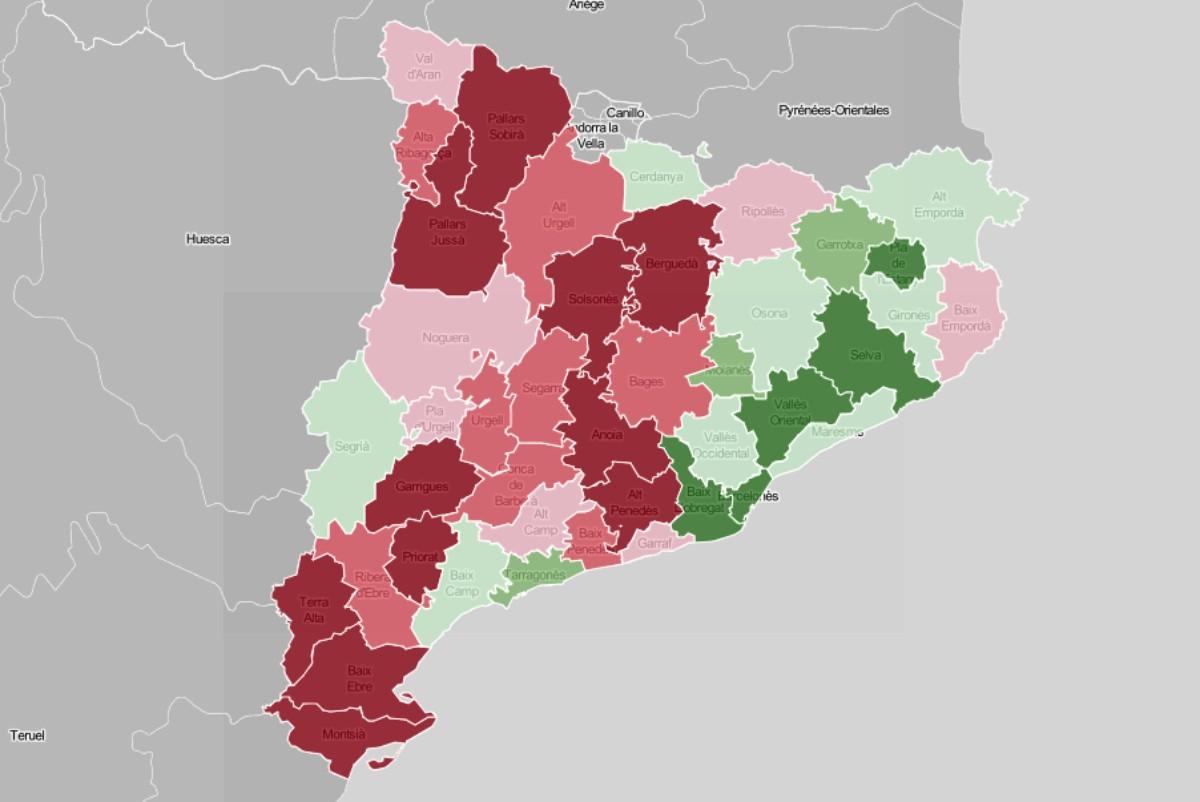 Mapa comarcal, en funció de l'evolució del VAB des del 2007.