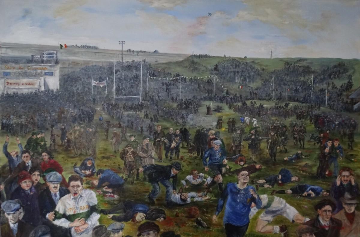 Pintura de l'artista irlandesa Annette Curran que recrea la matança de Croke Park durant el Bloody Sunday de 1920