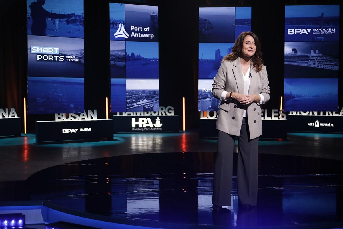 Mercè Conesa, presidenta del Port de Barcelona, en la sessió inaugural del congrés