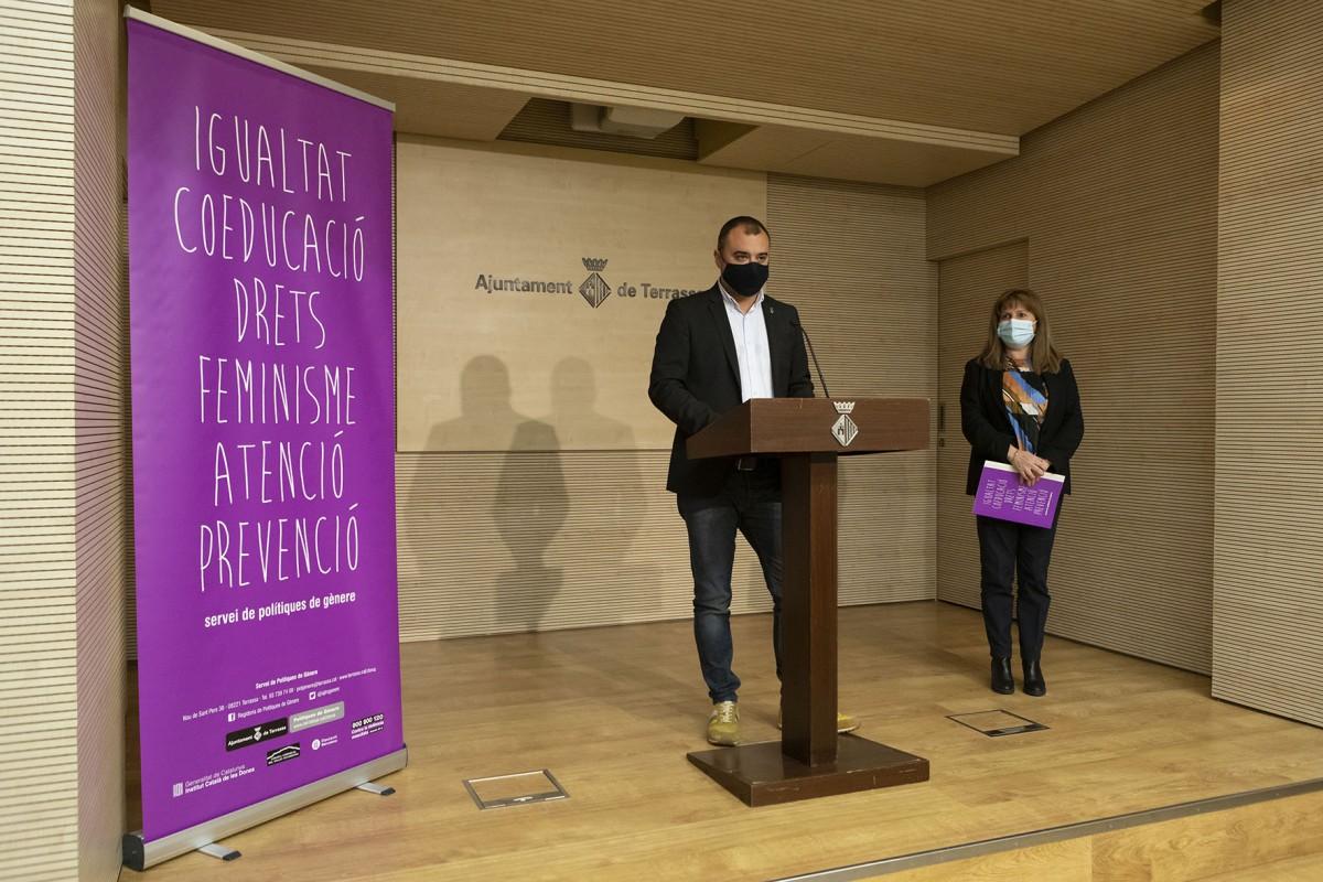 Roda de premsa de presentació de la campanya pel 25-N a Terrassa.