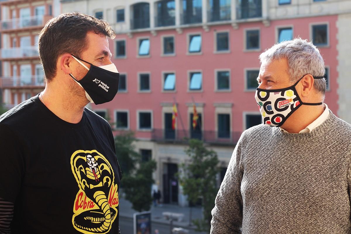 Fran Pizarro i José Manuel Martín, a la seu de CCOO de Tarragona