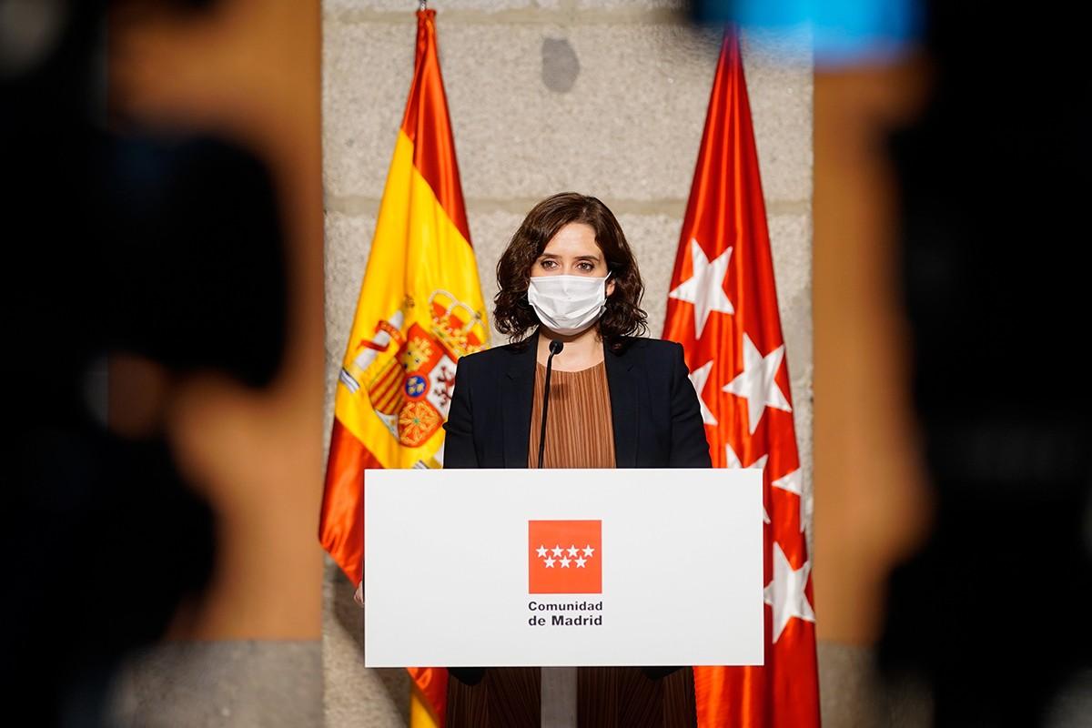 La presidenta madrilenya, Isabel Díaz Ayuso, en una roda de premsa recent.