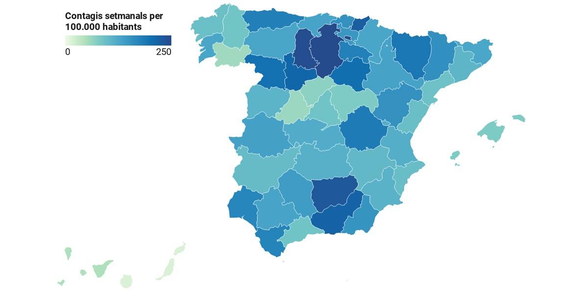 Mapa provincial, en funció de la ràtio de contagis recents.