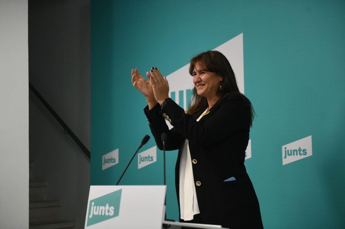 Laura Borràs, en la compareixença de Junts en què s'ha anunciat el resultat de les primàries.