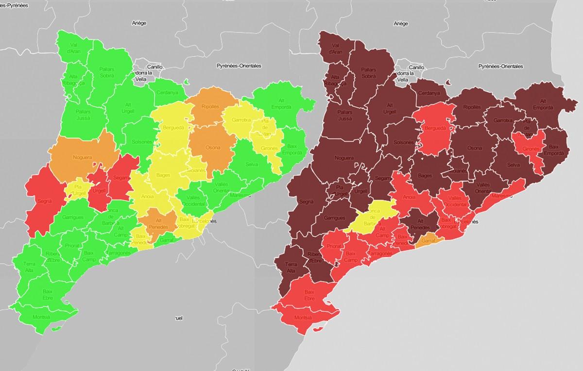 Mapes comarcals del risc de rebrot, a l'inici de la primera desescalada i ara.
