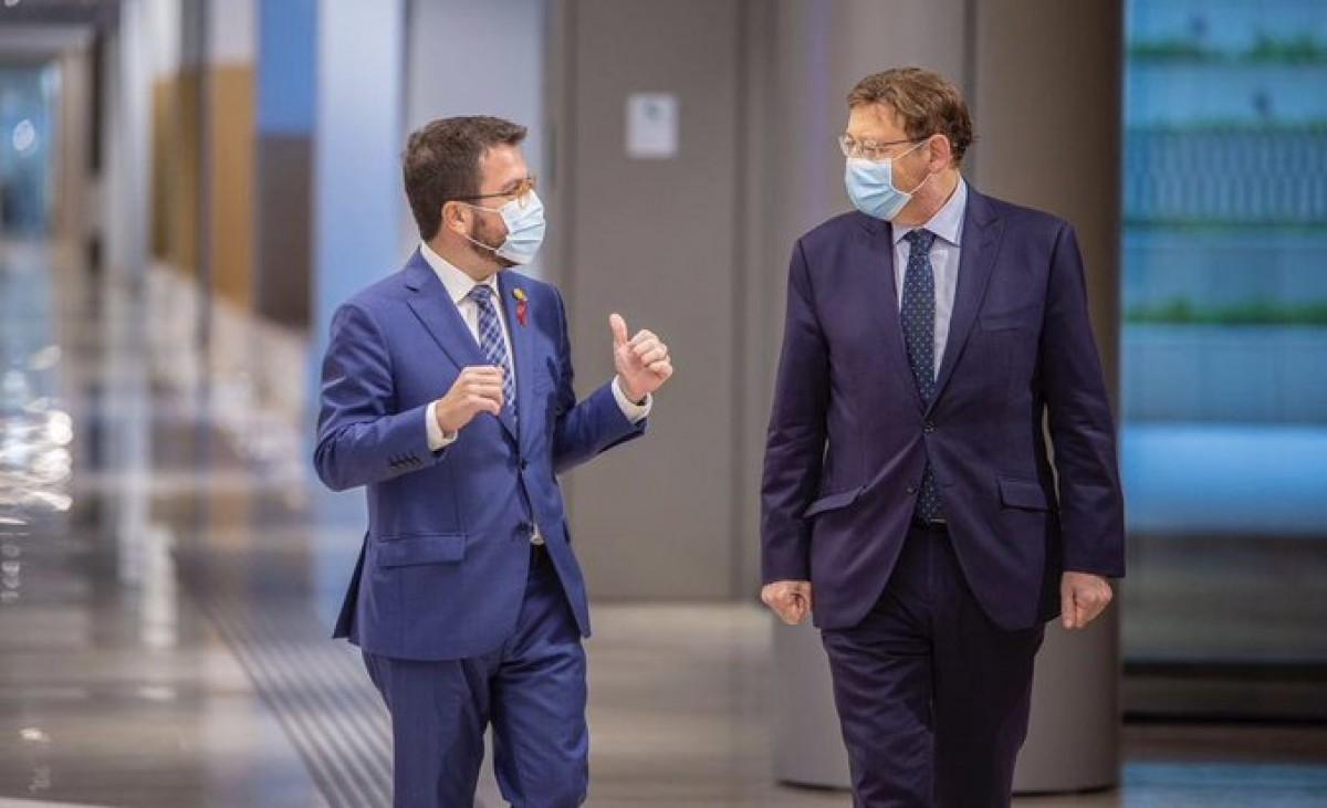 El vicepresident Aragonès i el president valencià Ximo Puig, aquesta tarda a Barcelona.