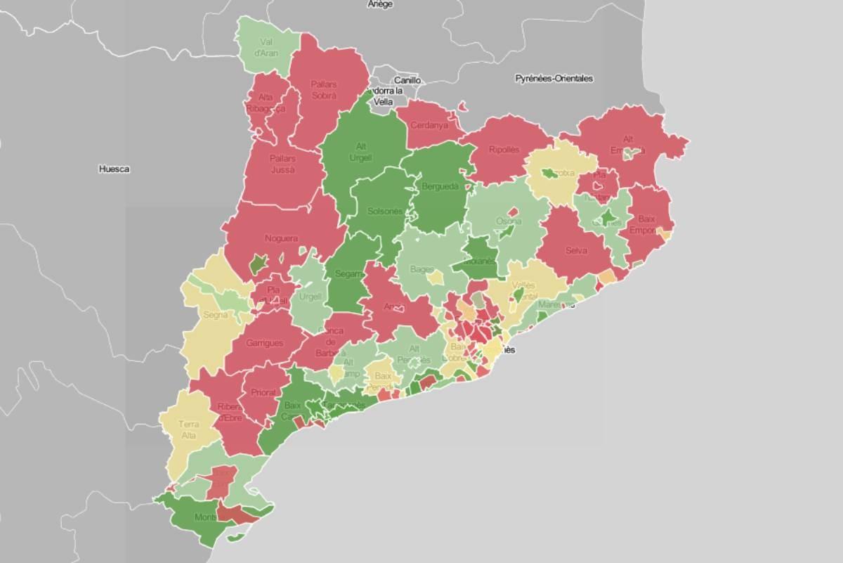 Mapa de municipis i comarques, en funció de la velocitat de propagació.