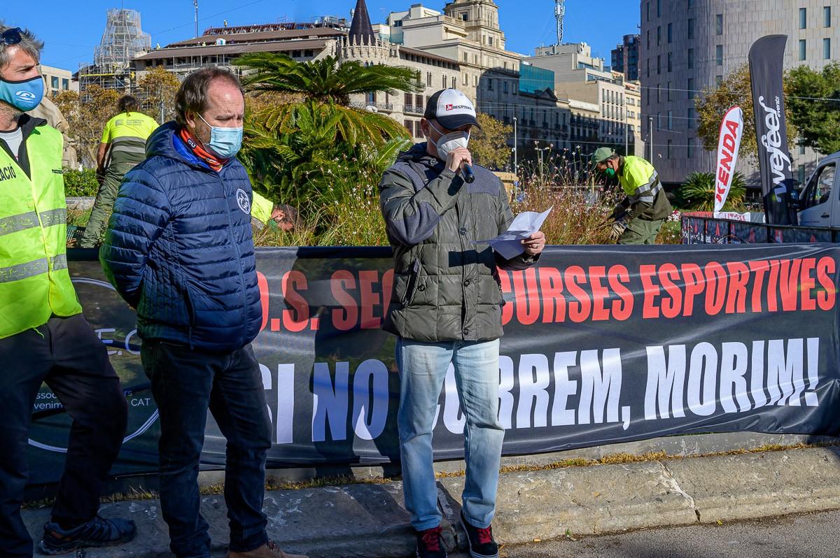 Manifestació a Barcelona del sector de curses esportives