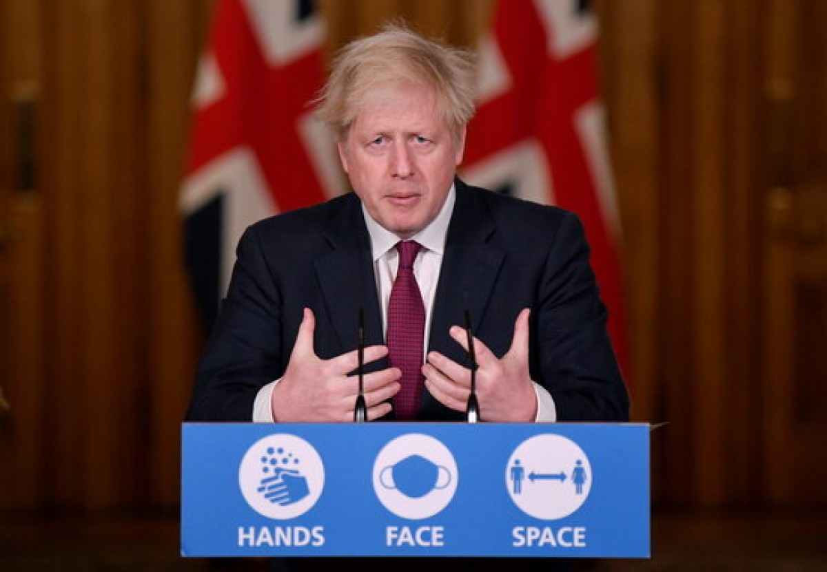 El primer ministre britànic Boris Johnson, en roda de premsa