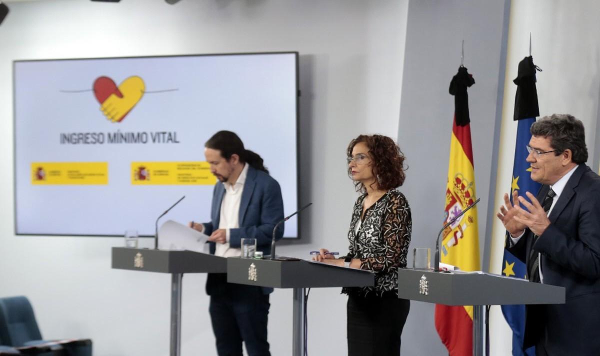 El vicepresident segon del govern espanyol i ministre de Drets Socials i Agenda 2030, Pablo Iglesias, anunciant l'aprovació de l'Ingrés Mínim Vital el maig de 2020.
