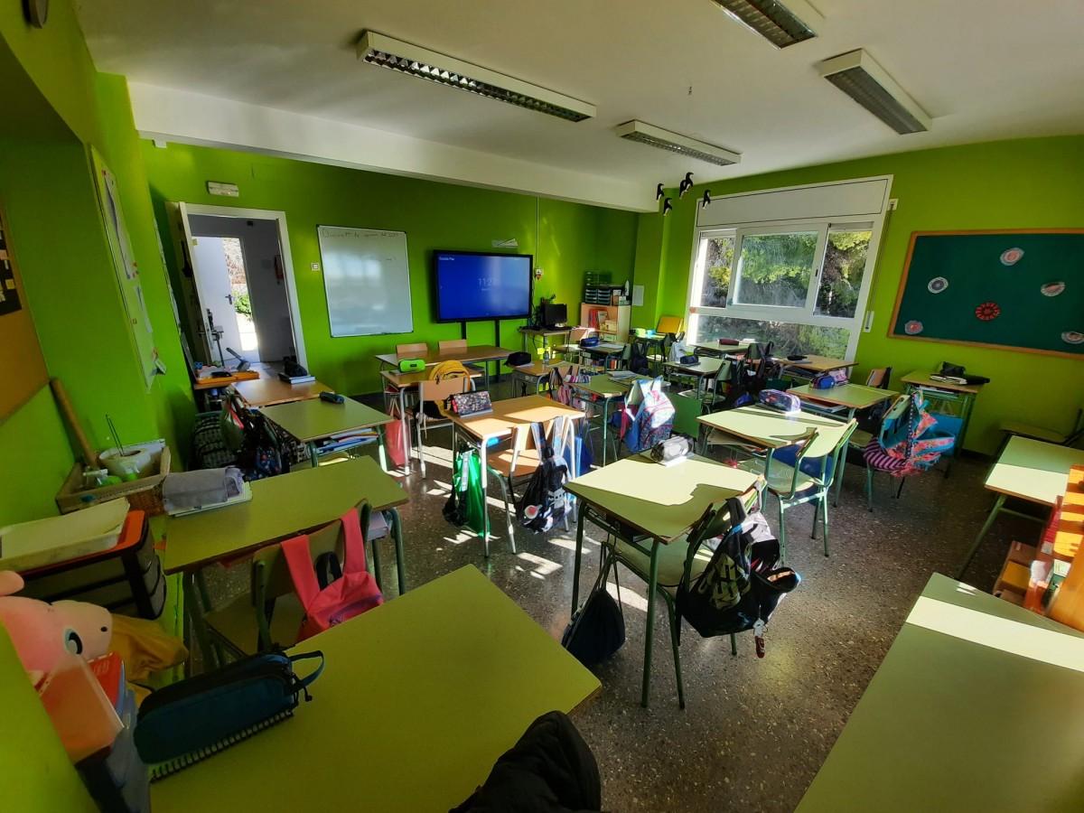 Una de les noves aules, a l'edifici annex a Mas Mallol.