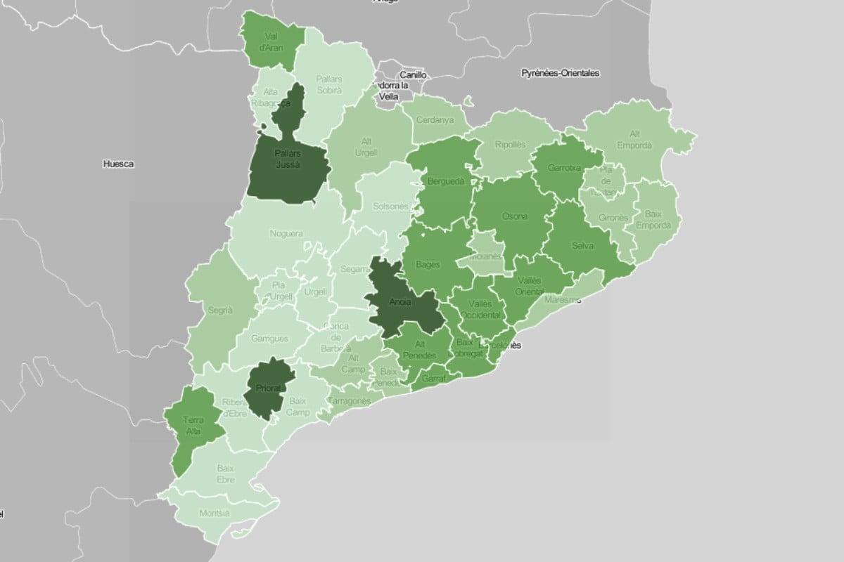 Mapa comarcal, en funció de la ràtio de morts a residències pel coronavirus.
