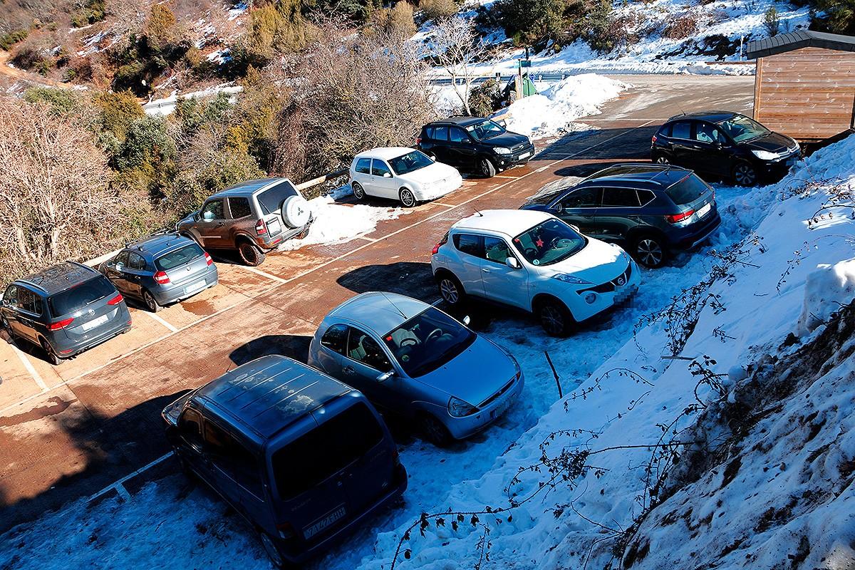 L'aparcament de Collformic aquest diumenge el matí.