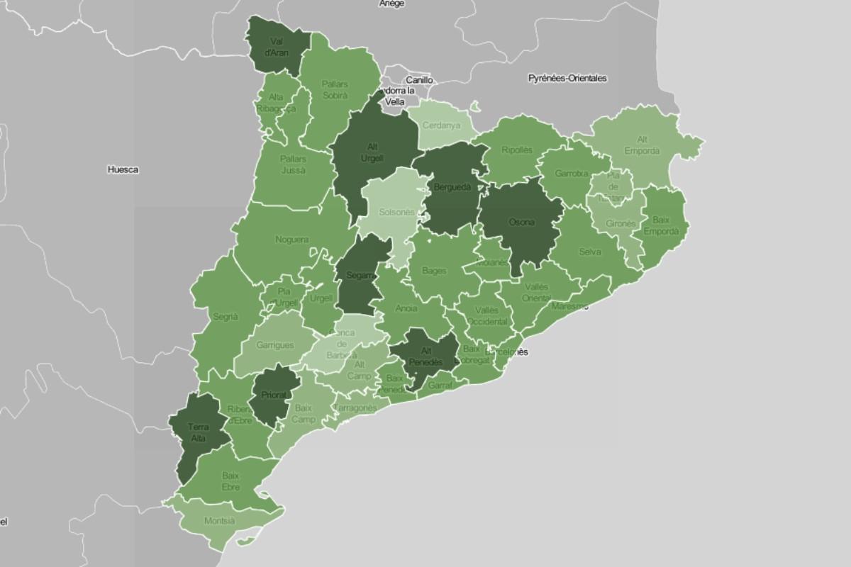 Mapa de municipis i comarques, en funció del nivell de vacunació.