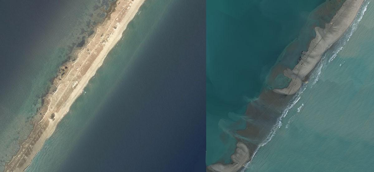 Imatge comparativa de la barra del Trabucador, al delta de l'Ebre.