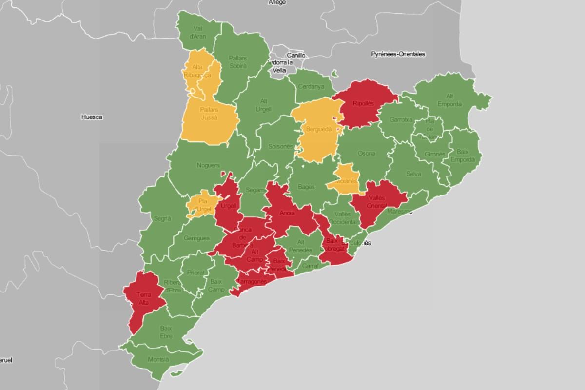 Mapa comarcal, en funció del nivell d'ocupació de les UCI.