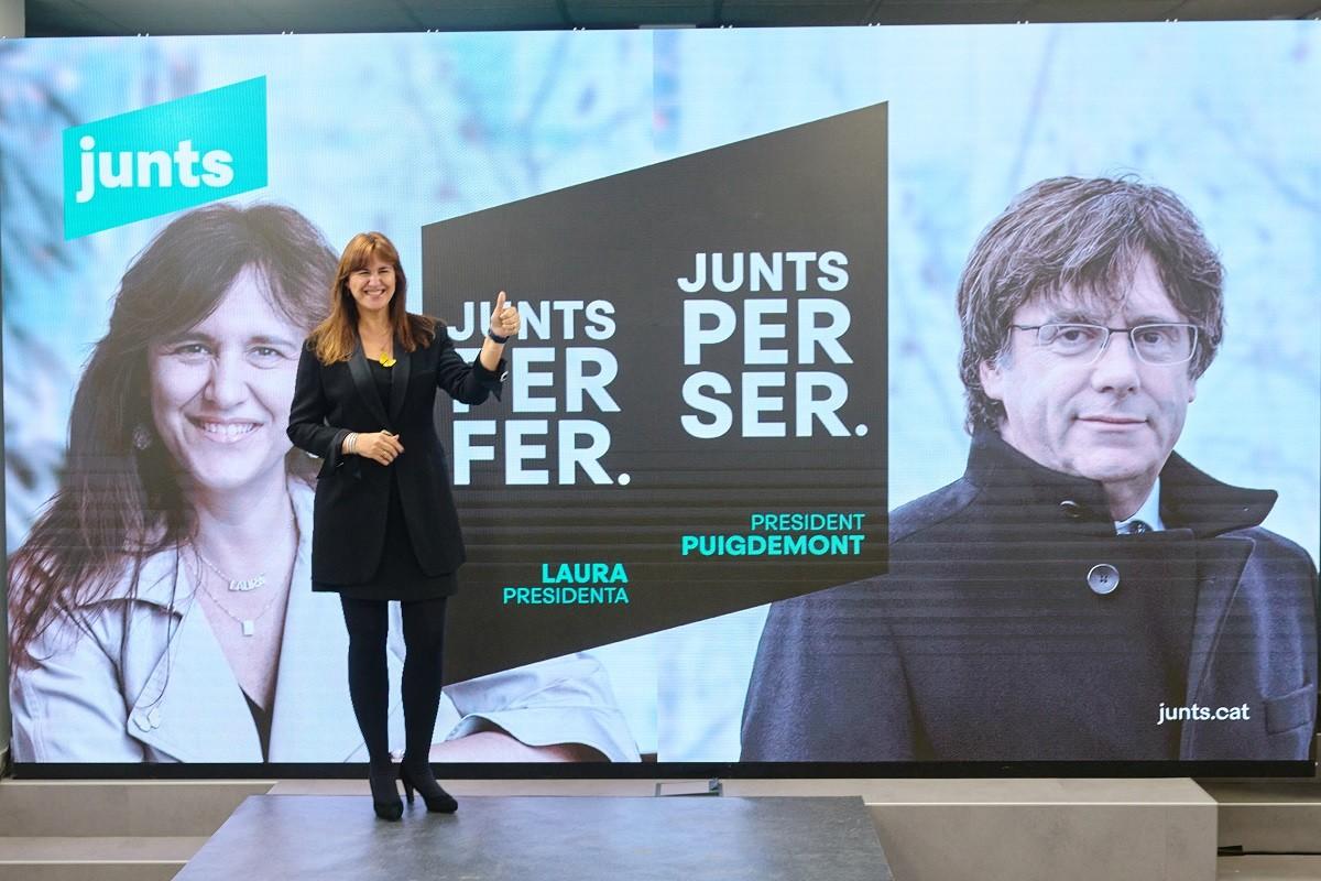Laura Borràs, en la presentació de la campanya de Junts per Catalunya.