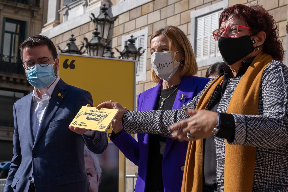 Forcadell i Bassa en un acte electoral d'ERC