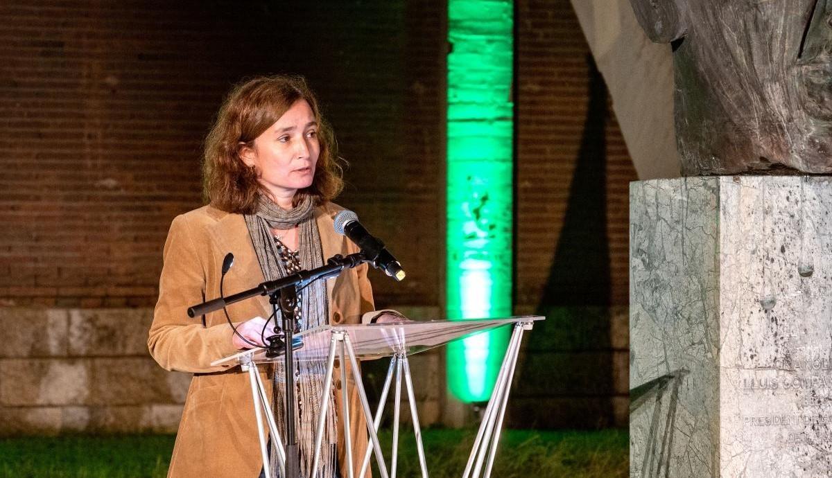 La historiadora Queralt Solé, en un acte a Granollers en motiu del 80è. aniversari de l'afusellament del president Lluís Companys.
