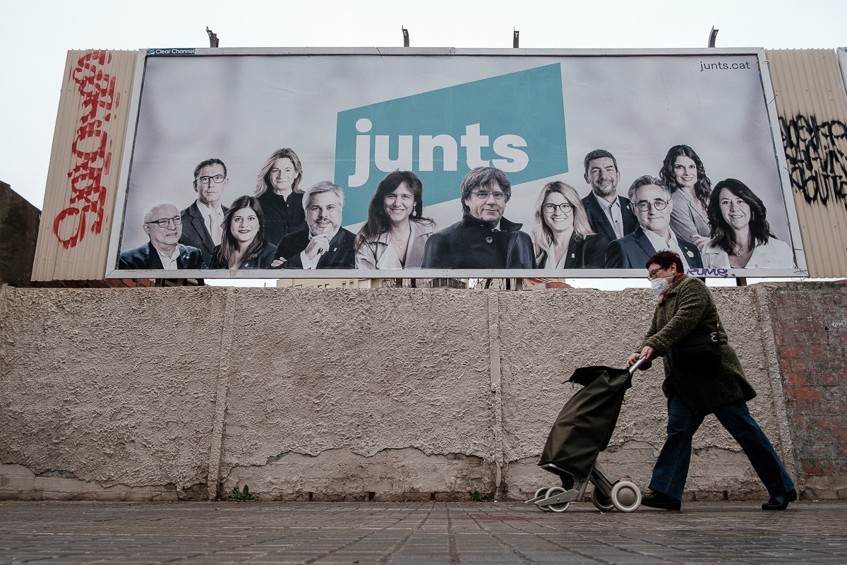 Cartell de Junts per les eleccions del 14-F.