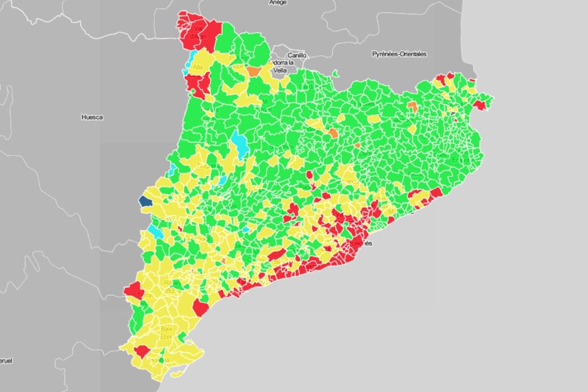 Mapa municipal de Catalunya, en funció de la primera força el 14-F.