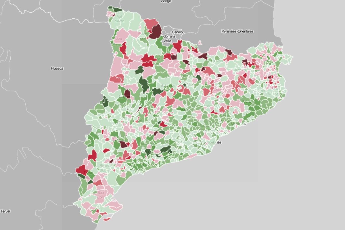 Mapa municipal, en funció de l'evolució del vot independentista.