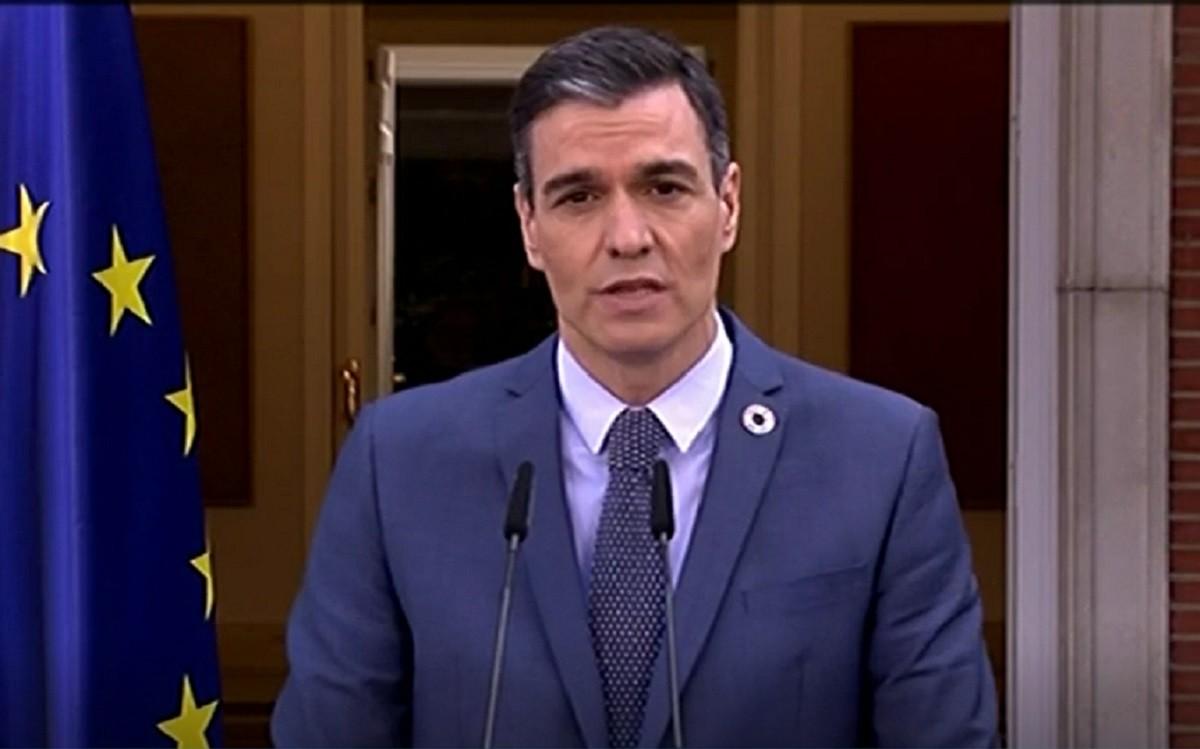 Pedro Sánchez durant la compareixença d'avui