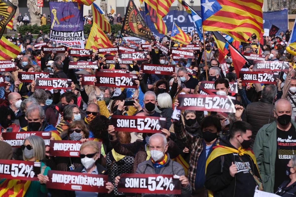 Manifestació de l'ANC a Plaça Catalunya.