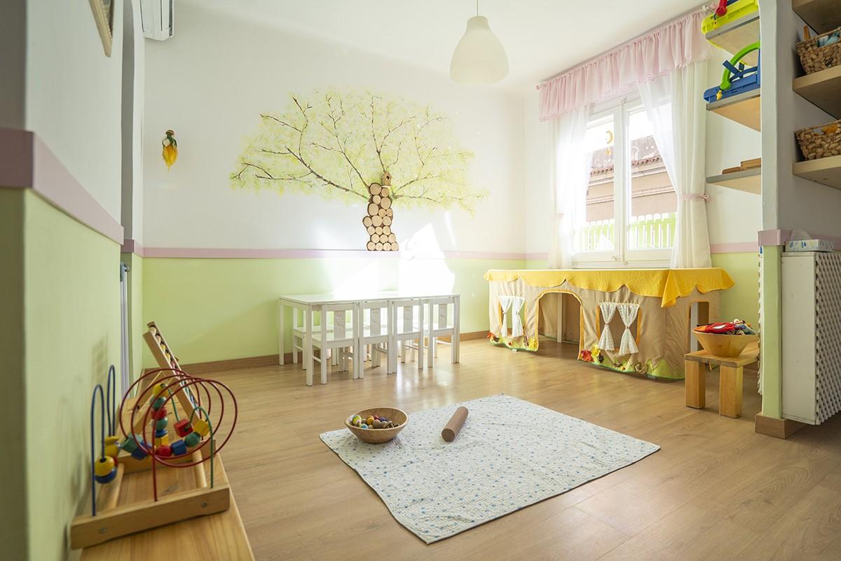 Espai de joc de la llar d'infants Mamá Canguro, al barri de Gràcia de Barcelona