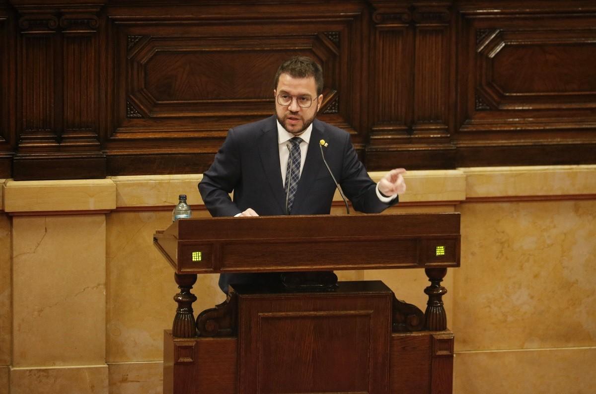 El vicepresident Pere Aragonès, aquest dimecres al Parlament