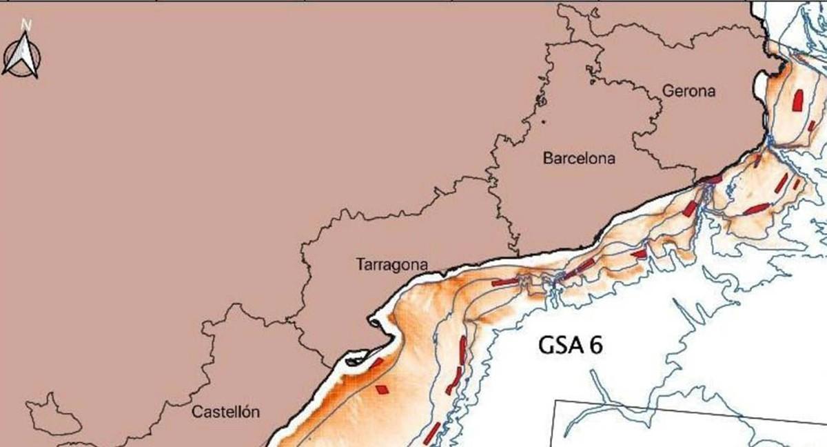 Mapa de la zona de tancament, corresponent a 18 àrees del litoral català