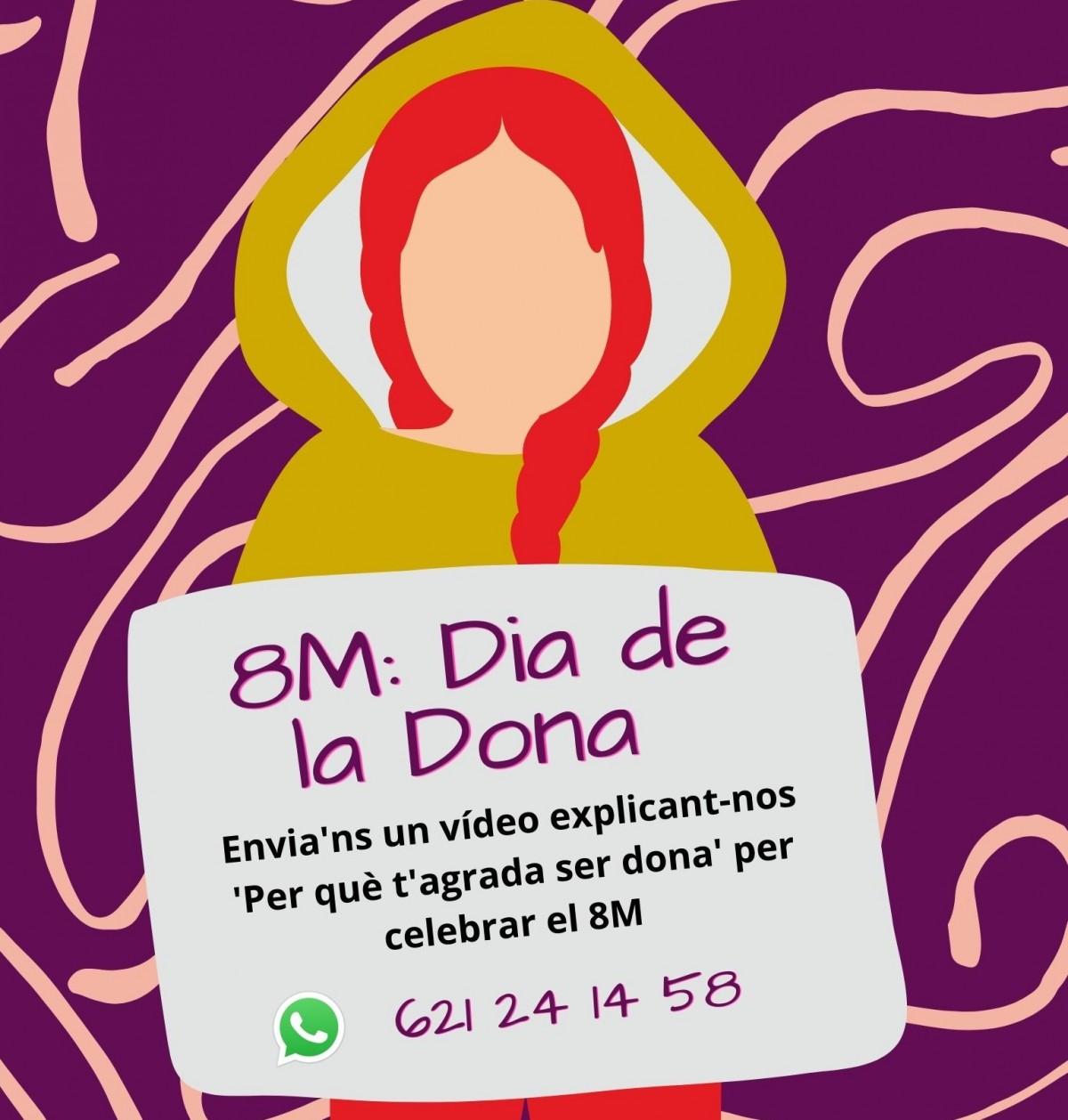 Cartell de la campanya del Dia Internacional de les Dones a Sant Joan les Fonts.