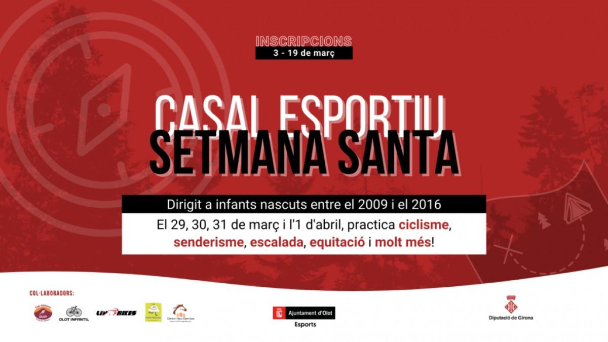 El casal esportiu de Setamana Santa tindrà lloc del 29 de març al 1r d'abril.