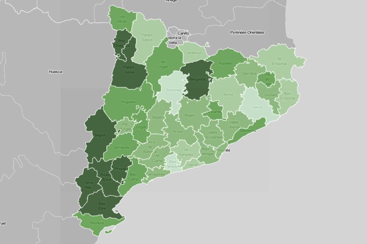 Mapa comarcal, en funció del nivell de població vaccinada.
