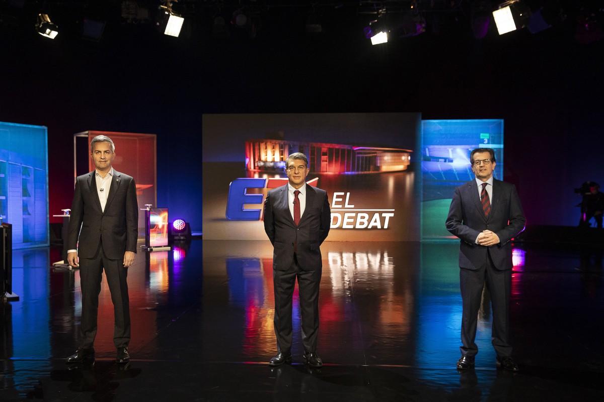 Víctor Font, Joan Laporta i Toni Freixa, al debat de les eleccions al Barça