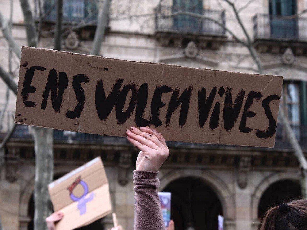 Manifestació d'estudiants a Barcelona, aquest matí.