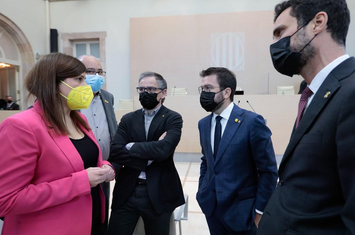 Aragonès i Gemma Geis, aquest dimarts al Parlament.