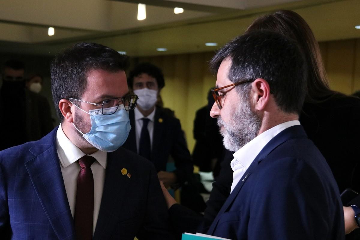 Pere Aragonès i Jordi Sànchez, durant les negociacions.