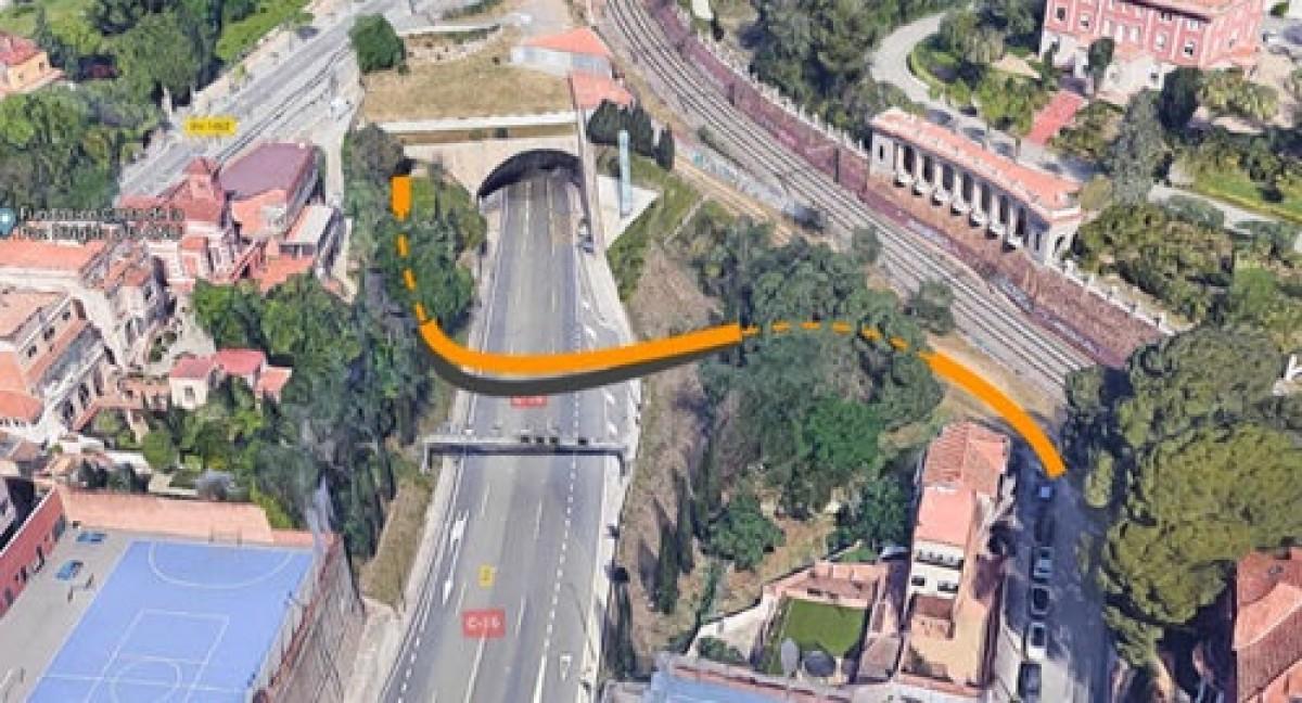 Imatge de l'entrada d'incorporació del carril bici als Túnels de Vallvidrera