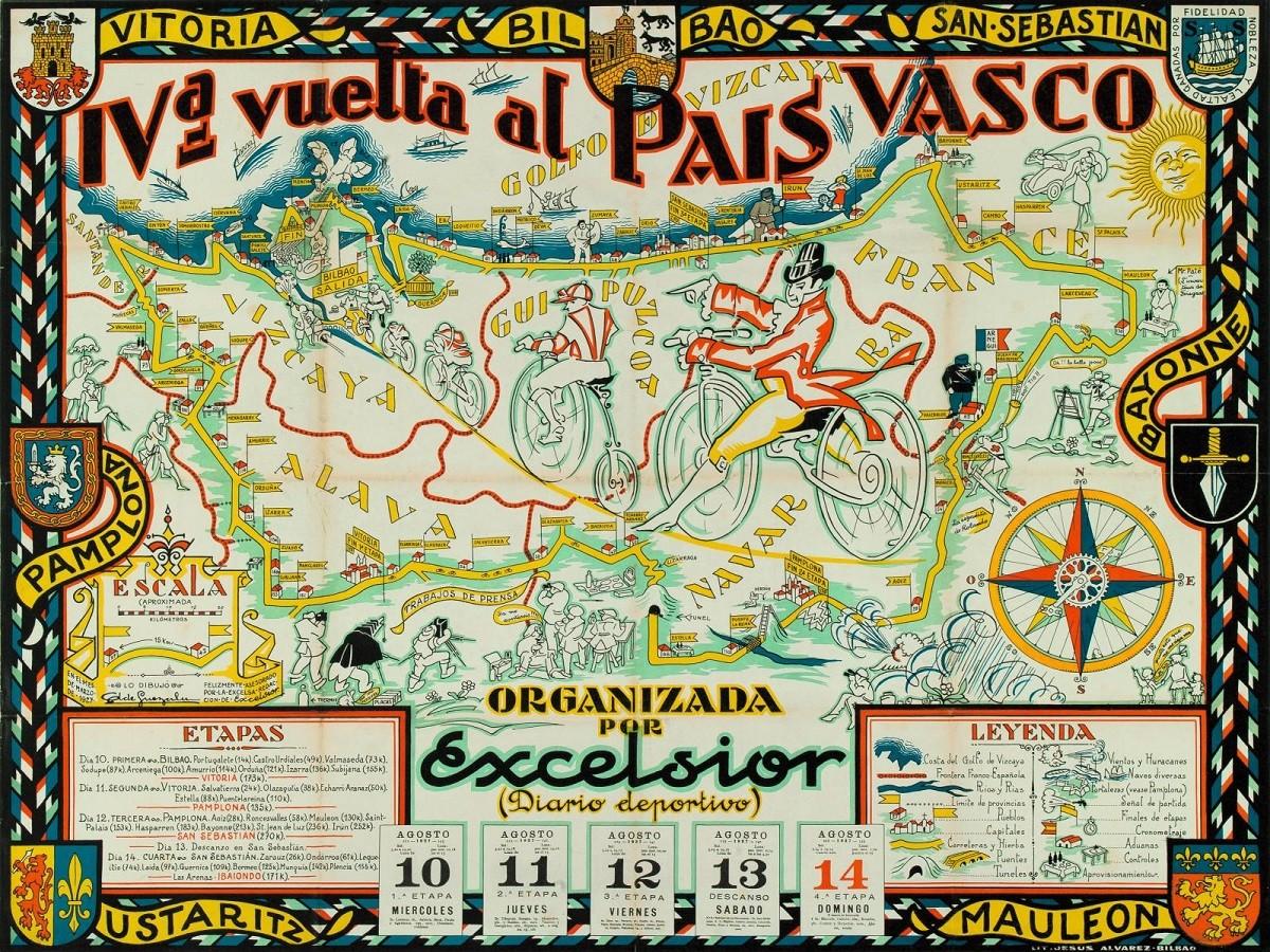 Cartell de la quarta edició de la Volta al País Basc, organitzada el 1927 pel diari 'Excelsior'
