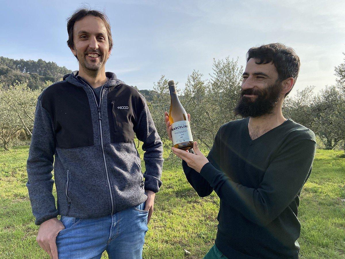 Joan Munné i Àlex Peris amb el seu xarel·lo Vinya Marcelino