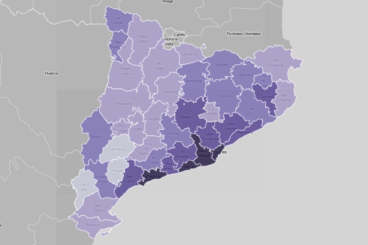 Mapa comarcal, en funció de la pensió mitjana dels jubilats.